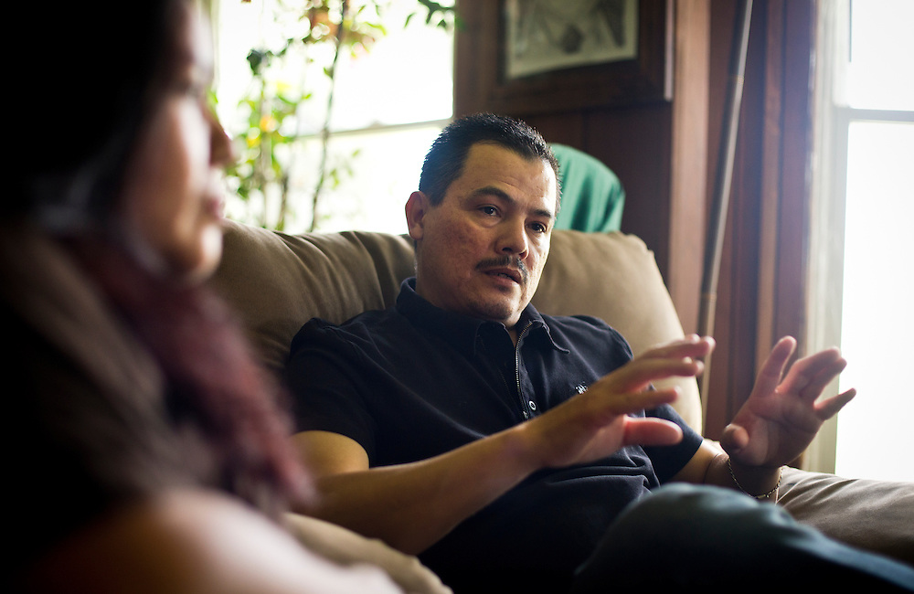 GENOA CITY, WI — JUNE 24, 2016: José Cervantes Amaral, right, and his wife, Lourdes, speak about their ongoing legal battle to stay in the United States after José was arrested by immigration officers outside his home in May.