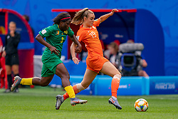15-06-2019 FRA: Netherlands - Cameroon, Valenciennes<br /> FIFA Women's World Cup France group E match between Netherlands and Cameroon at Stade du Hainaut / Jill Roord #19 of the Netherlands, Raissa Feudjio #8 of Cameroon