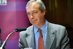 "© Licensed to London News Pictures. 17/06/2015. London, UK. UKIP leader NIGEL FARAGE delivers a speech to launch ""The Truth About Trade Beyond The EU"" pamphlet in central London, on Wednesday, June 17, 2015. Photo credit: Tolga Akmen/LNP"