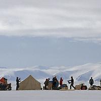 Eclipse Sound, north of Baffin Island, Canada.A tourist camp on a frozen ocean.