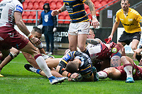 Rugby League - 2020 Coral Challenge Cup - Leeds Rhinos vs Wigan Warrior - TW Stadium, Stadium<br /> <br /> Leeds Rhinos's Ashley Handley scores his sides winning try of the game<br /> <br /> COLORSPORT/TERRY DONNELLY