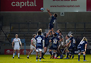 Sale Sharks lock Lood De Jager collects a line out during a Gallagher Premiership Round 11 Rugby Union match, Friday, Feb 26, 2021, in Eccles, United Kingdom. (Steve Flynn/Image of Sport)