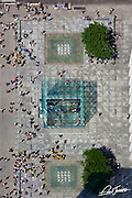 New York City: Looking down onto the glass Apple Store, Central Park South and Fifth Avenue