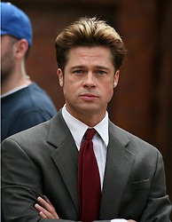 October 3 2007, Brooklyn, NY Actor Brad Pitt was on the set of his new movie ''Burn after Reading'' in Brooklyn Heights, NY. Pitt had to climb over a garden wall for the scene. (Credit Image: