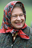 WINDSOR, UK: The Queen attends the Royal Windsor Horse Show on the 13th May 2006.<br /> PHOTOGRAPH BY JAMES WHATLING