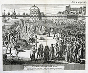 Burning of heretics sentenced by the Inquisition. Copperplate engraving published Cologne, 1759. Private collection