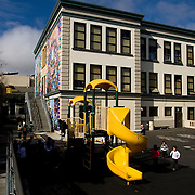 A Kindergarten student at Cesar Chavez Elementary in San Francisco, CA where award winning teacher Robert Sautter teaches.