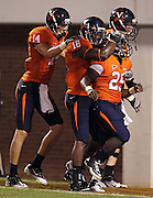 Sept. 3, 2011 - Charlottesville, Virginia - USA; Virginia Cavaliers running back Kevin Parks (25) celebrates another touchdown with teammates during an NCAA football game against William & Mary at Scott Stadium. Virginia won 40-3. (Credit Image: © Andrew Shurtleff