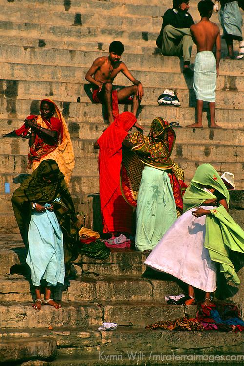Asia, India, Uttar Pradesh, Varanasi. Scene of daily life along the ghats in the holy city of Varanasi on the Ganges River.