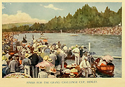 Rowing - Finish Line for the Grand Challenge Cup, Henley From the book ' English sport ' by Alfred Edward Thomas Watson, Published in London by Macmillan and Co. Limited and in New York by Macmillan Company. in 1903