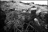 """In the graveyard at Krushe e Mahde, Kosovo, many graves are simply marked, """"unidentified."""" More than fifty bodies found after the war in 1999 were too badly burned to be identified."""