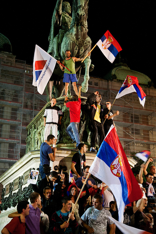 A rowdy crowd gathers at Trg Republike (Republic Square) in central Belgrade after Tomislav Nikolic was declared the winner of the Serbian Presidential Election. The crowd was shouting anti-Tadic chants, and was comprised of mostly intoxicated young men...May 20, 2012 Election Night coverage from Belgrade city center