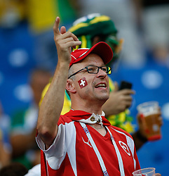 June 17, 2018 - Rostov Do Don, Rússia - ROSTOV DO DON, RO - 17.06.2018: BRAZIL VS SWITZERLAND - Swiss supporter during match between Brazil and Switzerland valid for the first round of group E of the 2018 World Cup held at the Rostov Arena in Rostov on Don, Russia. (Credit Image: © Marcelo Machado De Melo/Fotoarena via ZUMA Press)