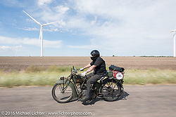 Kyle Rose of Utah riding his 1916 Excelsior during the Motorcycle Cannonball Race of the Century. Stage-8 from Wichita, KS to Dodge City, KS. USA. Saturday September 17, 2016. Photography ©2016 Michael Lichter.