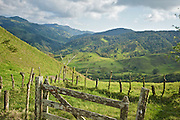 Costa Rica mountains and pasture land in rich green
