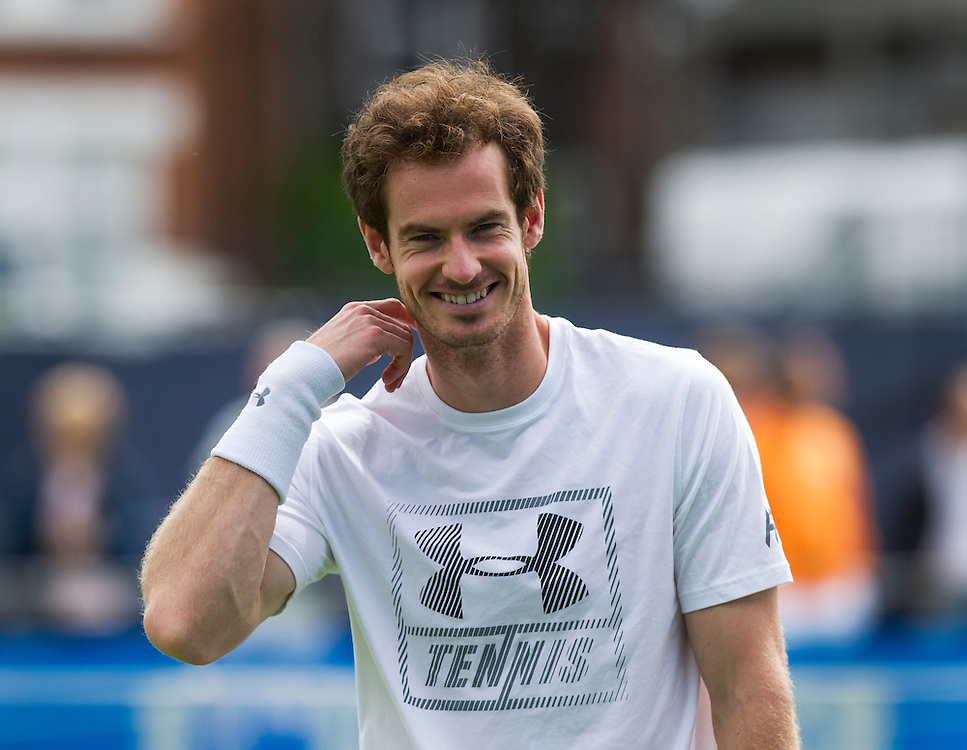 Andy Murray of Great Britain on the practice courts on Day 4 before his match against Aljaz Bedene of Great Britain<br /> <br /> Photographer Ashley Western/CameraSport<br /> <br /> Tennis - Aegon Championships 2016- Day 4 - Thursday 16th June 2016 - Queen's Club - London <br /> <br /> World Copyright © 2016 CameraSport. All rights reserved. 43 Linden Ave. Countesthorpe. Leicester. England. LE8 5PG - Tel: +44 (0) 116 277 4147 - admin@camerasport.com - www.camerasport.com