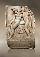 Roman Sebasteion relief sculpture of Achilles and a dying Amazon, Aphrodisias Museum, Aphrodisias, Turkey.   Against an art background.  <br /> <br /> Achilles supports the dying Amazon queen Penthesilea whom he has mortally wounded. Her double headed axe slips from her hands. The queen had come to fight against the Greeks in the Trojan war and Achilles fell in love with her. .<br /> <br /> If you prefer to buy from our ALAMY STOCK LIBRARY page at https://www.alamy.com/portfolio/paul-williams-funkystock/greco-roman-sculptures.html . Type -    Aphrodisias     - into LOWER SEARCH WITHIN GALLERY box - Refine search by adding a subject, place, background colour, museum etc.<br /> <br /> Visit our ROMAN WORLD PHOTO COLLECTIONS for more photos to download or buy as wall art prints https://funkystock.photoshelter.com/gallery-collection/The-Romans-Art-Artefacts-Antiquities-Historic-Sites-Pictures-Images/C0000r2uLJJo9_s0