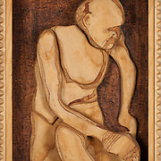 """Title: Dave in a Box<br /> Artist: Roderick Hilliard<br /> Date: 2012<br /> Medium: Wood<br /> Dimensions: 20 x 5.5 x 24""""<br /> Status: Available<br /> Location: HLC4000 Storage"""