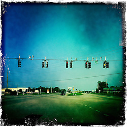 Street view with traffic lights, Orlando holiday 2012. Photo taken with the Hipstamatic photo application on Apple iPhone 4.