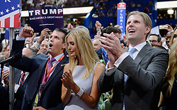 Donald Trump Jr. along with Ivanka Trump and Eric Trump  take part of the Roll Call on the second day of the Republican National Convention on July 19, 2016 at the Quicken Loans Arena in Cleveland, OH, USA. Photo by Olivier Douliery/ABACAPRESS.COM  | 555948_010 Cleveland