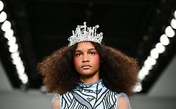 Models on the catwalk during the Bora Aksu London Fashion Week SS18 show held at 180 Strand, London.