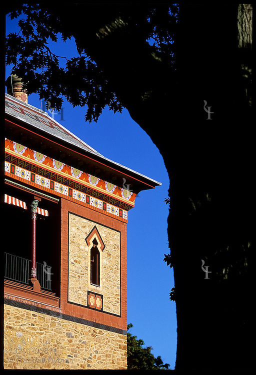 Main tower of Olana, Persian-style home of Hudson River School painter Frederic Church, has a richly decorated exterior; Hudson, New York