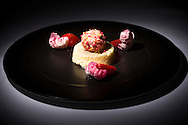 Raspberry Crusted Meringue on a Pillow of Elder Flower Royal pictured at P&O Cruises Development Kitchen for the Macmillan Cancer Support cookery book.<br /> Picture date: Friday April 29, 2016.<br /> Photograph by Christopher Ison ©<br /> 07544044177<br /> chris@christopherison.com<br /> www.christopherison.com