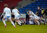 Exeter Chiefs scrum-half Jack Maunder passes from a ruck during a Gallagher Premiership Round 11 Rugby Union match, Friday, Feb 26, 2021, in Eccles, United Kingdom. (Steve Flynn/Image of Sport)