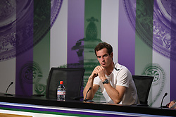 ©Licensed to i-Images Picture Agency. 02/07/2014. London, United Kingdom. Andy Murray gives his press conference after being knocked out of the 2014 Championships by Bulgaria's Grigor Dimitrov.The Wimbledon Championships 2014<br /> The All England Lawn Tennis & Croquet Club Wimbledon. Picture by: Billie Weiss/AELTC POOL/ i-Images