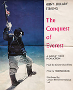 The Conquest of Everest, original film brochure with Ed Hillary photograph of Tenzing Norgay on summit Everest 1953