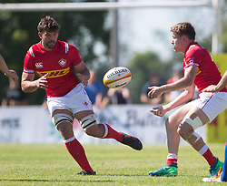June 16, 2018 - Ottawa, ON, U.S. - OTTAWA, ON - JUNE 16: Lucas (C) Rumball (C) (7 Flanker ) of Canada takes a pass against Russia in the Canada versus Russia international Rugby Union action on June 16, 2018, at Twin Elms Rugby Park in Ottawa, Canada. Russia won the game 43-20. (Photo by Sean Burges/Icon Sportswire) (Credit Image: © Sean Burges/Icon SMI via ZUMA Press)