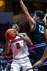 NORMAL, IL - October 23: Zach Copeland eyes the bucket guarded by Hunter Strait during a college basketball game between the ISU Redbirds and the Truman State Bulldogs on October 23 2019 at Redbird Arena in Normal, IL. (Photo by Alan Look)