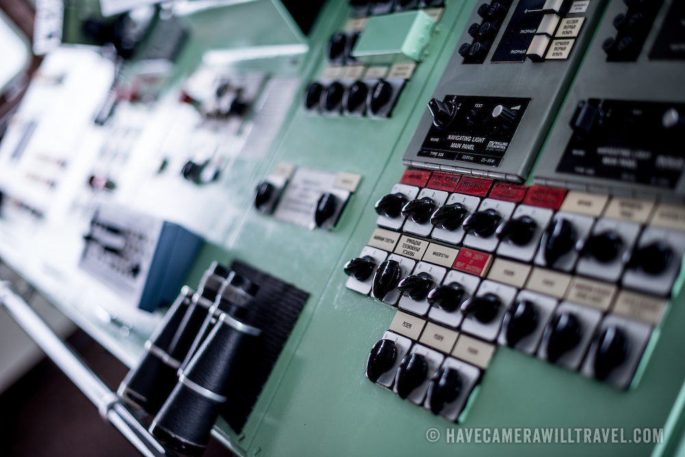 Navigation and communication equipment on the bridge of the Antarctic cruise ship Polar Pioneer, a Russian ship operated by Aurora Expeditions.