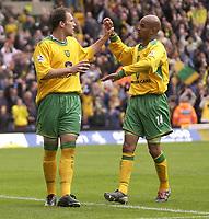 Fotball<br /> England 2004/2005<br /> Foto: SBI/Digitalsport<br /> NORWAY ONLY<br /> <br /> Norwich v Birmingham<br /> FA Barclays Premiership<br /> 07/05/2005<br /> <br /> Norwich's Dean Ashton celebrates his goal with Leon McKenzie