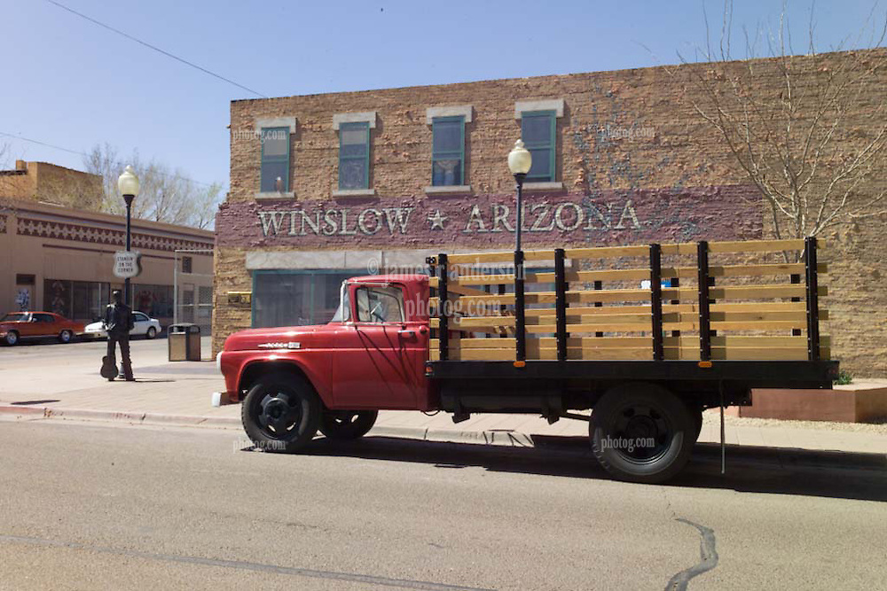 """""""Standing on the Corner"""" in Winslow Arizona Statue with Flatbed Pickup Truck. 24 March 2008"""