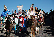 Cowboys costumed as the Three Kings lead a procession from the Cristo Rey shrine on top Cubilete Mountain at the end of the annual Cabalgata de Cristo Rey pilgrimage January 6, 2017 in Guanajuato, Mexico. Thousands of Mexican cowboys take part in the three-day ride to the mountaintop shrine of Cristo Rey which concludes on the Day of Epiphany.