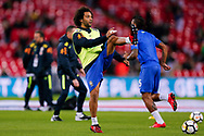 Brazil Real Madrid defender Marcelo (12) warming up  during the International Friendly match between England and Brazil at Wembley Stadium, London, England on 14 November 2017. Photo by Simon Davies.