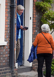 © Licensed to London News Pictures. 04/06/2021. Henley-on-Thames, UK. Former BBC Director-General TONY HALL (left) pictured outside his Oxfordshire home. It is the first time Tony Hall, Baron Hall of Birkenhead, has been seen since the release of Lord Dyson's report in to allegations that BBC journalist Martin Bashir used forged bank statement to arrange a Panorama interview with Princess Diana in 1995. Photo credit: Ben Cawthra/LNP