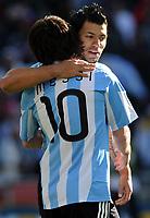 Sergio Aguero festeggia con Lionel Messi (Argentina) <br /> Argentina Corea del Sud 4-1 - Argentina vs South Korea 4-1<br /> Campionati del Mondo di Calcio Sudafrica 2010 - World Cup South Africa 2010<br /> Soccer Stadium, Johannesburg, 17 / 06 / 2010<br /> © Giorgio Perottino / Insidefoto