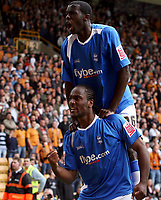 Photo: Paul Thomas.<br /> Wolverhampton Wanderers v Birmingham City. Coca Cola Championship. 22/04/2007.<br /> <br /> Cameron Jerome (Bottom) and Birmingham celebrate his winner.