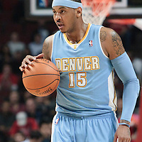 08 November 2010: Denver Nuggets' small forward #15 Carmelo Anthony brings the ball upcourt during the Chicago Bulls 94-92 victory over the Denver Nuggets at the United Center, in Chicago, Illinois, USA.