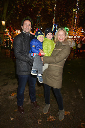 MATT & MARISSA HERMER with their children MAX and JAKE at the Hyde Park Winter Wonderland - VIP Preview Night, Hyde Park, London on 17th November 2016.