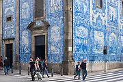Famous azulejos Portuguese blue and white wall tiles at 18th Century Capela das Almas de Santa Catarina  - St Catherine's Chapel in Porto, Portugal