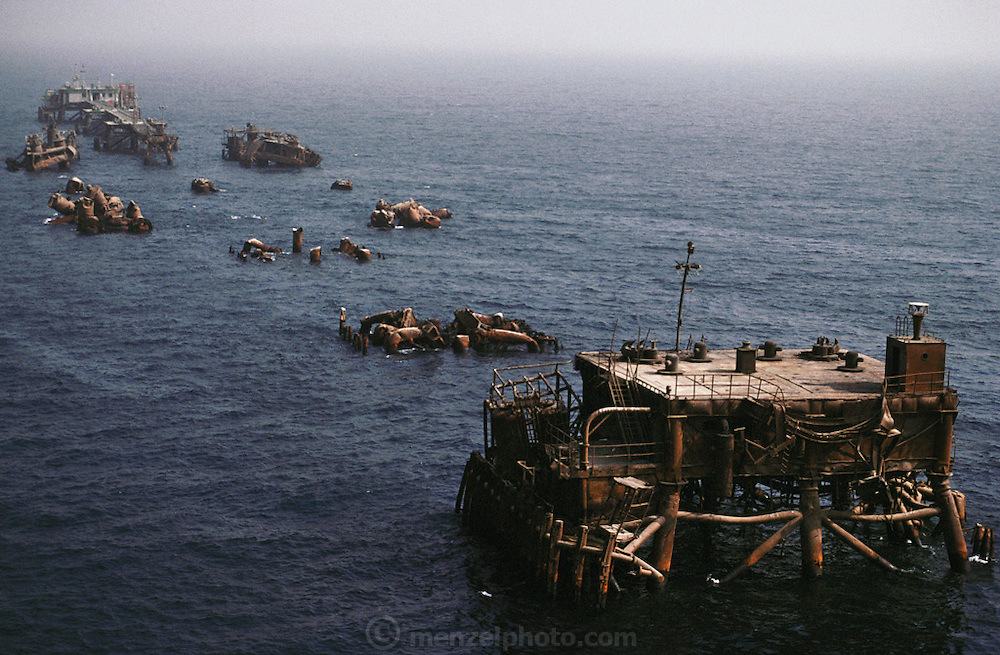 Sea Island: destroyed off shore oil docking faciltity after the end of the Gulf War in 1991. More than 700 wells were set ablaze by retreating Iraqi troops creating the largest man-made environmental disaster in history.