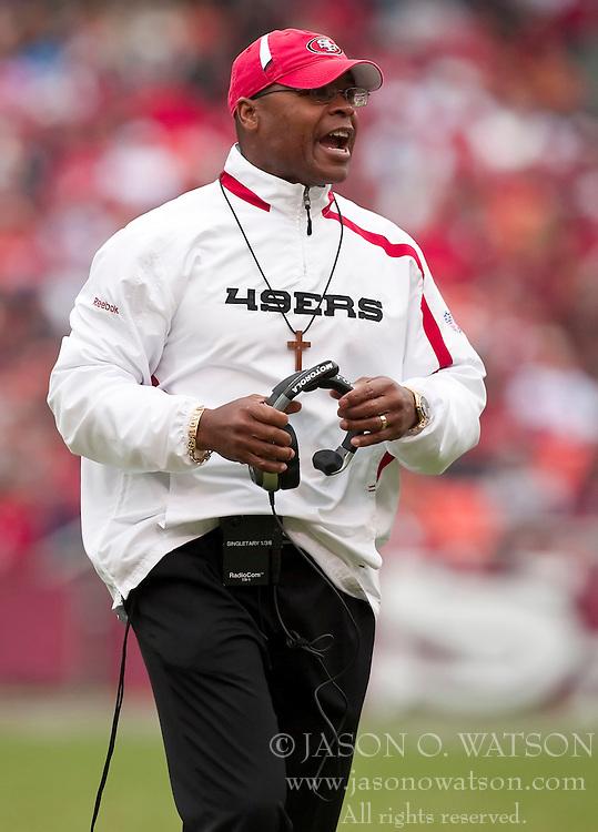 October 11, 2009; San Francisco, CA, USA;  San Francisco 49ers head coach Mike Singletary in the first quarter against the Atlanta Falcons at Candlestick Park. Atlanta won 45-10.