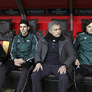 Real Madrid's coach Jose Mourinho (2ndR) during their UEFA Champions League Quarter-finals, Second leg match Galatasaray between Real Madrid at the TT Arena AliSamiYen Spor Kompleksi in Istanbul, Turkey on Tuesday 09 April 2013. Photo by Aykut AKICI/TURKPIX