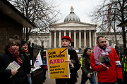University staff joined workers from 60 universities to resist changes to their pensions and students joined the picket line outside UCL, University College London on 22nd February 2018 in London, United Kingdom.