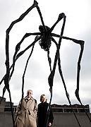 """John and Mary Pappajohn, with """"Spider"""" by scuptor Louise Bourgeois.  Shot in the John and Mary Pappajohn Sculpture Park, Desmoines, IA, for Apollo Magazine.  2009-10."""