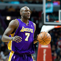 15 December 2009: Los Angeles Lakers forward Lamar Odom brings the ball upcourt during the Los Angeles Lakers 96-87 victory over the Chicago Bulls at the United Center, in Chicago, Illinois, USA.
