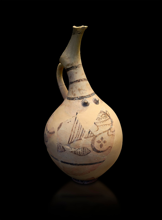 Cycladic beaked nippled jug with monstrous creature decoration.   Cycladic (18th-17th cent BC BC) , Phylakopi I-IV, Melos. National Archaeological Museum Athens.  Cat no 5777.  Black background. .<br /> <br /> If you prefer to buy from our ALAMY PHOTO LIBRARY  Collection visit : https://www.alamy.com/portfolio/paul-williams-funkystock/cycladic-art-artefacts.html Type into the LOWER SEARCH WITHIN GALLERY box to refine search by adding background colour, place, museum etc<br /> <br /> Visit our CYCLADIC CIVILISATIONS PHOTO COLLECTIONS for more photos to download or buy as wall art prints https://funkystock.photoshelter.com/gallery-collection/Cycladic-civilisation-Ancient-Greek-Artefacts-art-Photos-Pictures-Images/C0000CmevVvnC.XU